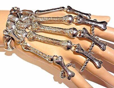 SILVER SKELETON HAND SLAVE BRACELET armor ring glove costume biker goth XS - Skeleton Hand Ring Bracelet