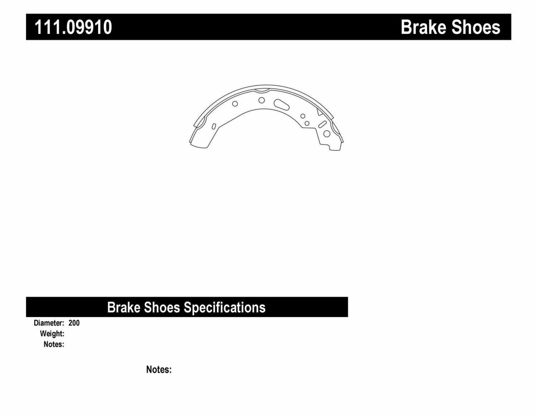 Centric Brake Shoe Sets 2-Wheel Set Rear New for Toyota Yaris Mazda 2 111.09910