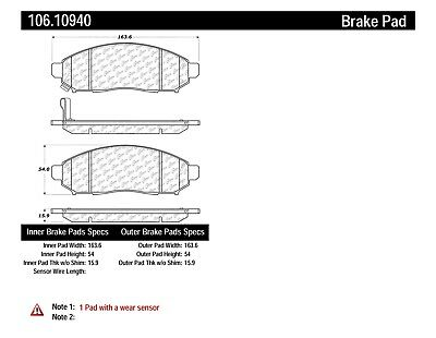 Disc Brake Pad Set Front Centric 106.10940