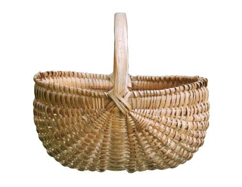 Large Vintage Splint Gathering Basket, signed and dated 1941