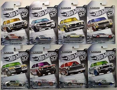 ZAMAC SET OF 8 50TH ANNIV HOT WHEELS FLAMED CAMARO MUSTANG OLDS 442 DEMON GSX