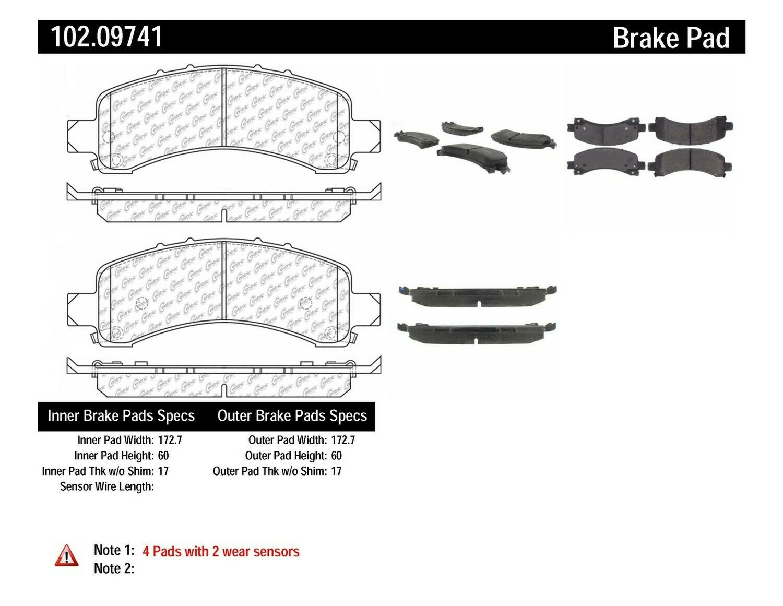 Centric Parts 102.09741 102 Series Semi Metallic Standard Brake Pad