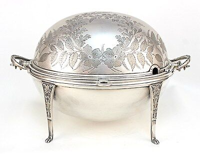 Large Mappin & Webb English Victorian Silverplate Revolving Tureen
