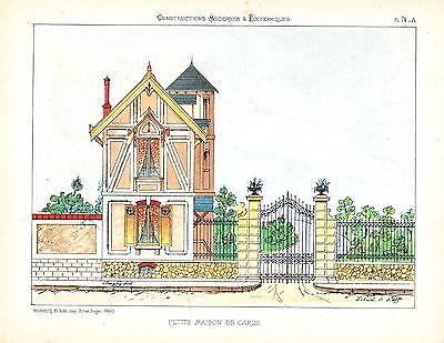 Guard Guardian House In 1860  Architecture  Lithograph Blueprint