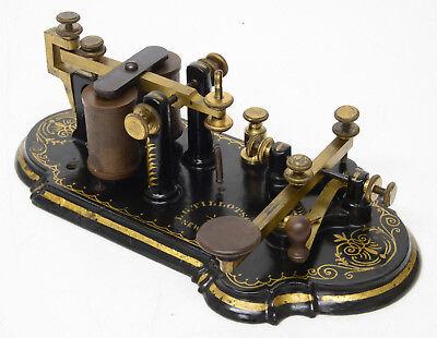 Antique 1870s Telegraph Key / Sounder ORNATE Edison era LG Tillotson pre Marconi