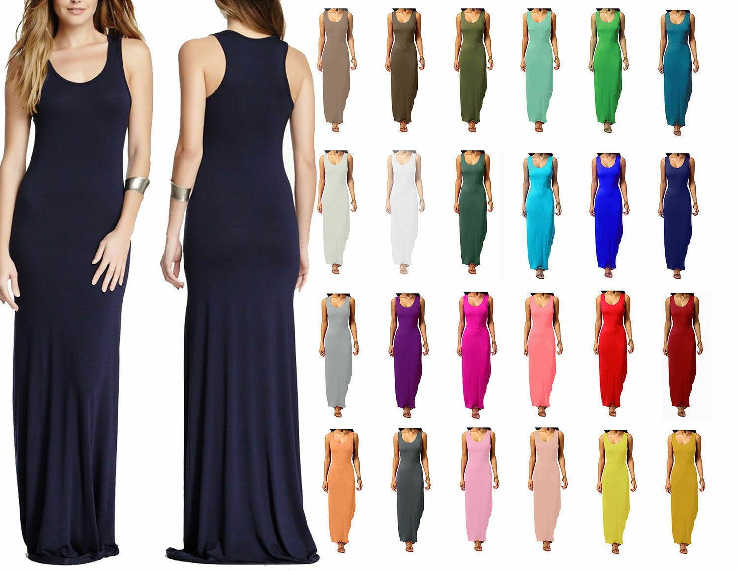 Women Sleeveless Muscle Racer Jersey Top Ladies Printed Back Fit Long Maxi Dress