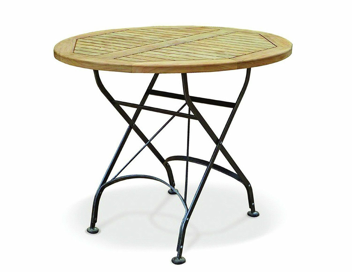 Café round folding bistro table teak and metal 0 9m fully assembled