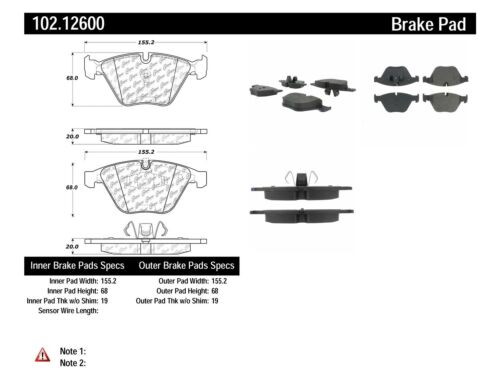 Centric 2-Wheel Set Brake Pad Sets Front Driver /& Passenger Side 102.09181