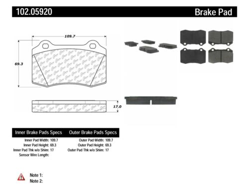 NEW COMPLETE SET FRONT BRAKE PAD CENTRIC 102.05920 FITS FERRARI F430 METALLIC