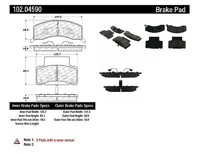 Disc Brake Pad Set-Extended Cab Pickup Front Centric 102.04590
