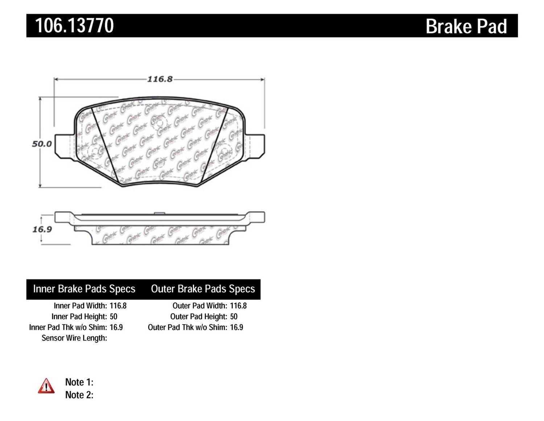 106.13770 REAR SET Posi Quiet Extended Wear Brake Disc Pads + Hardware Kit