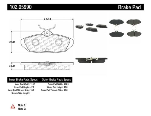 NEW 102.05990 COMPLETE SET REAR BRAKE PAD CENTRIC FITS FORD THUNDERBIRD METALLIC