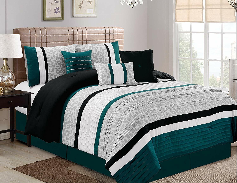 7 Pcs Oversize Luxury Stripe Bed In Bag Microfiber Comforter Sets Teal King Size 818187024395 Ebay