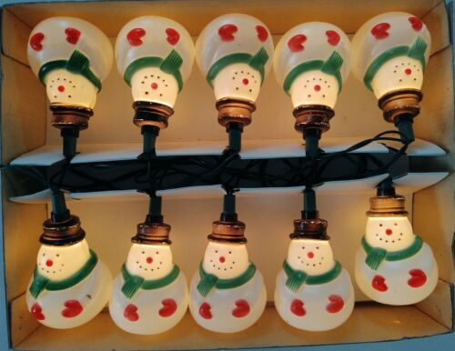 Works! 1991 BLOW MOLD SNOWMAN LIGHTS String of 10 INDOOR OUTDOOR SILVESTRI UL