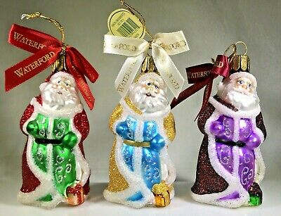 Waterford Set of 3 SANTA Blown-Glass Ornaments Christmas Heirloom 2006 MINT TAGS