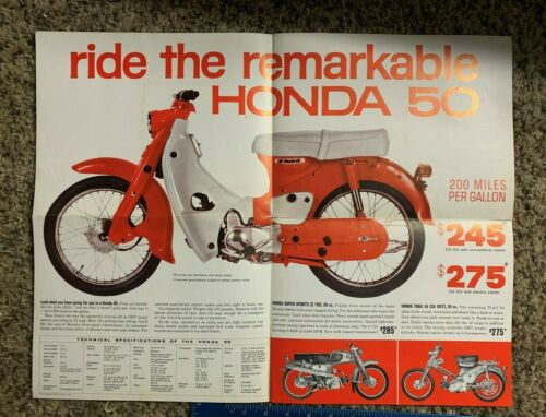 RARE VINTAGE ORIGINAL HONDA 50 MOTORCYCLE SCOOTER BROCHURE MANUAL 1963  100B