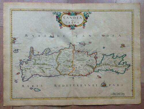 CRETA GREECE 1650 Pierre MARIETTE 17e CENTURY UNUSUAL LARGE ANTIQUE  MAP