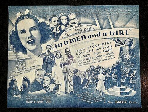 100 MEN AND A GIRL 1937 ORIGINAL MOVIE HERALD - DEANNA DURBIN
