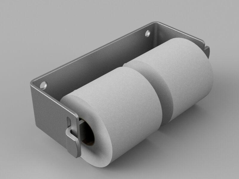 Stainless Steel Lock-Bar Vandal Resistant Two Roll Toilet Paper Dispenser.