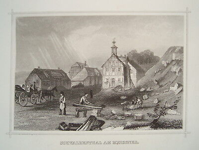 Schwalbental Hoher Meißner Hessen alter seltener Stahlstich 1850