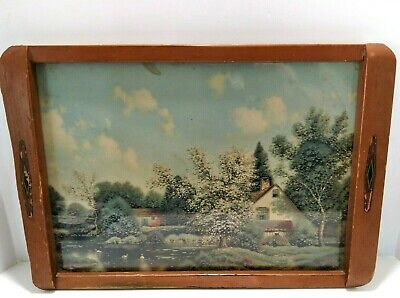 Vintage Art Deco Wooden Tray With Country Print Under Glass 16