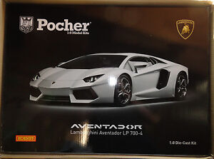 Pocher Lamborghini Aventador LP700-4 White Isis 1/8 Diecast Model Car Kit HK101