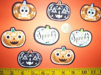 New! Cool Halloween Sugar Skull Pumpkins Iron-on Fabric Appliques ~ Iron - Halloween Iron Ons