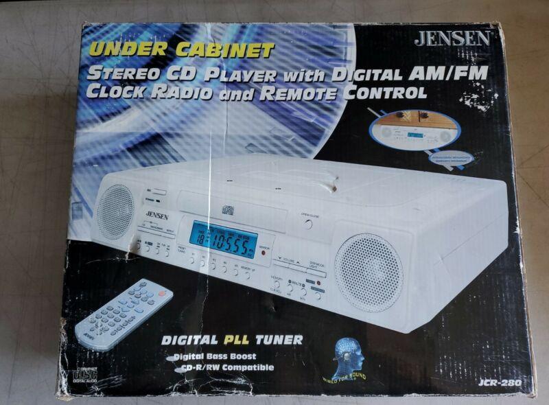 New Jensen JCR-280 Under Cabinet Stereo CD Player Digital Clock Radio AM-FM PLL