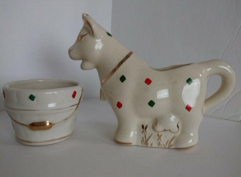 Vtg MCM Ceramic Cow Creamer & Sugar Bowl Red  Green Diamond Gold Trim Rare