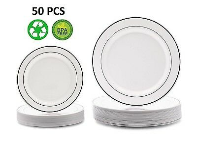 Disposable Plastic Plates Silver White Wedding Occasion Party Dinnerware 50 (Plastic Party Plates)