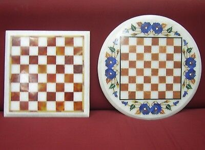 (set of 2 marble chess game Table Top pietra dura multi stones inlay art  work )