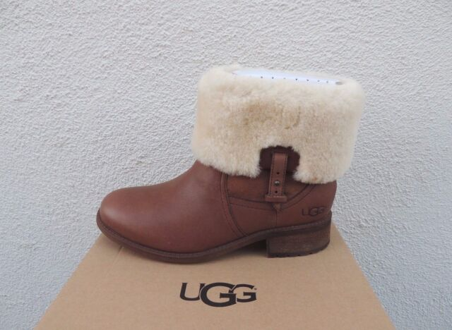 UGG CHYLER WATER-RESISTANT LEATHER/ SHEEPSKIN CUFF BOOTS, US 10/ EUR 41
