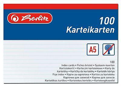 100 Karteikarte Karteikarten A5 liniert weiss Herlitz