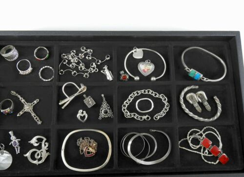 Vintage Sterling Silver Jewelry Lot Solid 925 Huge Estate Bracelets Rings #1