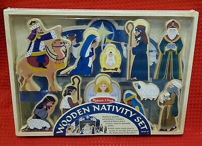 Melissa & Doug Classic Wooden Christmas Nativity Set #3858 Factory Sealed Age 4+