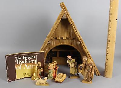 Vintage Authentic Hand Carved Wood ANRI Ulrich Bernardi Wood Nativity Creche Set