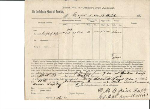 confederate military PAY VOUCHER-11 FEBRUARY, 1862---------$260, capt. REID