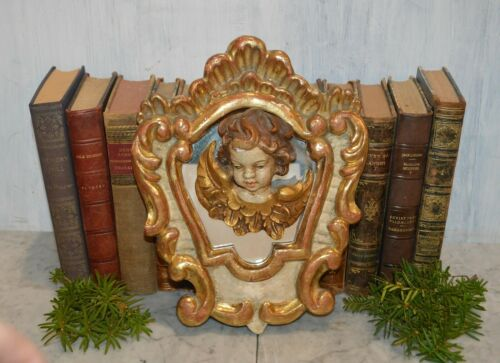 Antique Italian Painted Gilded Carved Wood Mirror and Figural Cherub Putto Head