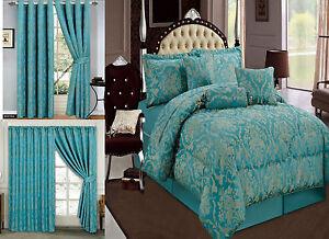 Jacquard Luxury 7 Piece Teal Comforter Set Bedspread Matching Cushion Cover Ebay