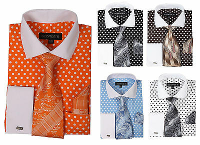 Men's Cotton Polka Dot Dress Shirt Set #613 Contrast Spread Collar French Cuff  Collar French Cuff Dress Shirt