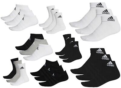 Adidas Socks Cushioned Men Women Unisex Cotton Crew Low Ankle Black White Grey