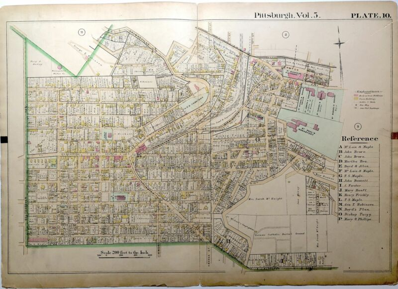 1890 linen backed map 27 x 19.5 Pittsburgh Mt Oliver & Knoxville