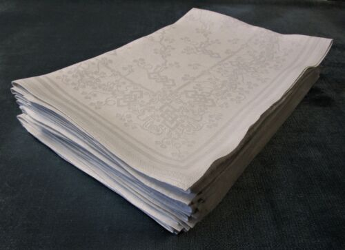 Antique Linen Damask 11 Lapkins Shamrocks & Chain Pattern Hand Hemmed 24""