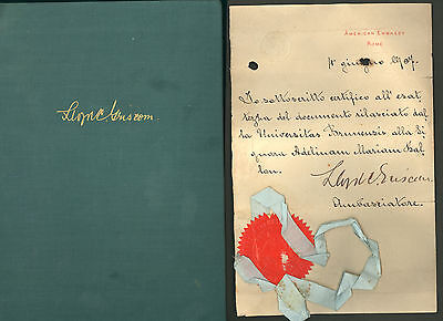 LLOYD C. GRISCOM * signed 1907 document plus autobiography * ambassador to Italy
