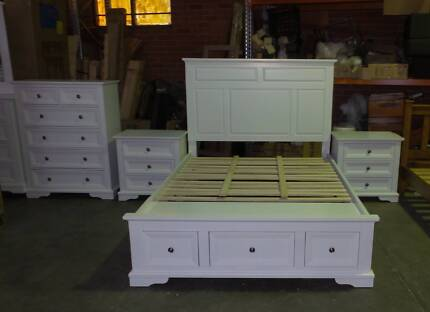 KING  SIZE BED AND LARGE TALLBOY  IN WHITE PINE