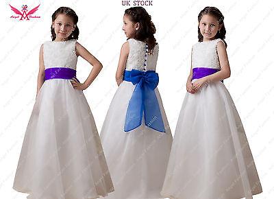 Isabelle elfenbein/weiß Blumenmädchen Kleid mit Auswahl blau/lila Schärpe &