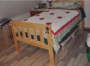 Single pine bed and mattress for sale