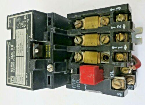 Square D NEMA Size 00 Type A02 Class 8536 Motor Starter Contactor