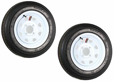 2-Pack Trailer Tire On Rim 480-12 4.80-12 12 in. LRB 4 Hole White Spoke Wheel
