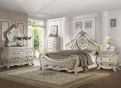 DUMONT 5pcs Traditional Antique White Bedroom Set Furniture w/ Queen Fabric Bed